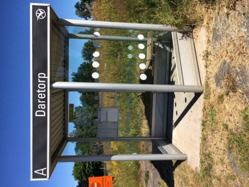 Bus stop at Daretorp Kyrka.