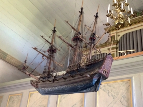 Suspended ship.